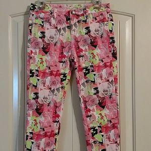 Justice premium floral print stretch jeans.